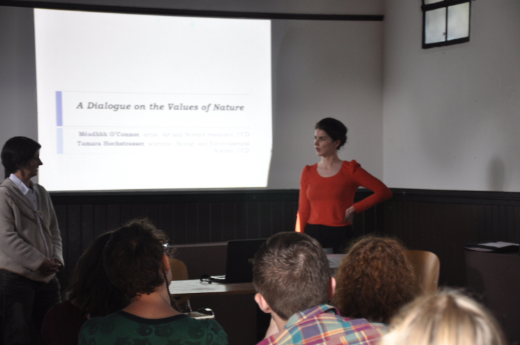 Artist Meadhbh O'Connor and her collaborator, Plant Biologist Dr. Tamara Hocstrasser (UCD) deliver a public talk titled 'A Dialogue on the Values of Nature', July 2014.