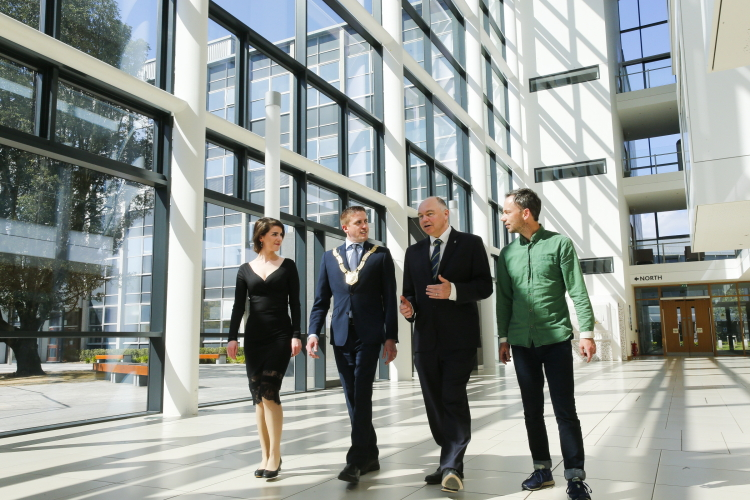 22nd May 2017 - UCD, Dublin - Pictured at the O'Brien Centre for Science at UCD where a partnership programme was announced between Dún Laoghaire-Rathdown County Council and UCD to support artists in residence, where, left to right, artist Méadhbh O'Connor; Cllr Cormac Devlin; Prof. Andrew Deeks, President UCD; artist David Beattie. © Photo by Peter Cavanagh