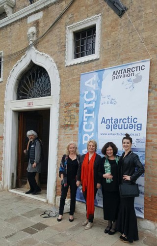 Outside Antarctic Pavilion, opening night. 57th Venice Biennale of Art. Left to right: Alexander Ponomarev, Orla Davin-Carroll, Aoife O'Connor, Elizabeth O'Connor and Méadhbh O'Connor.