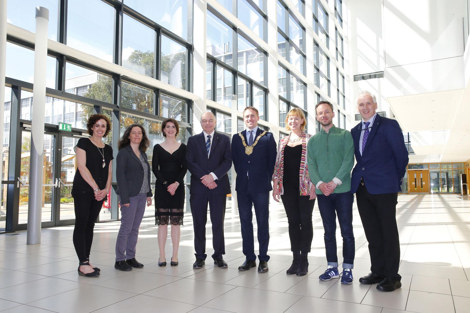From left: Ciara King, Arts Officer, Dún Laoghaire-Rathdown; Prof Lorraine Hanlon, co-founder UCD Parity Studios; Méadhbh O'Connor, artist; Prof Andrew Deeks, President UCD; An Cathaoirleach, Cllr Cormac Devlin; Emer O Boyle, co-founder UCD Parity Studios; David Beattie, artist; Prof Joe Carthy, Principal, UCD Science. Photo: Peter Cavanagh, 2017